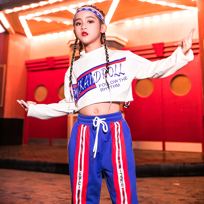 New Hiphop Kids Dance Costume Street Dance Clothing Girls Stage Dress Winter Performance Outfits Girls Jazz Dance Costume VDB935