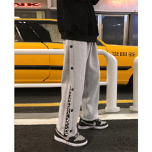 Men's Autumn And Winter Plus Velvet Thick Drawstring Casual Loose Buttoned Wide-Legged Wild Tide Fashion Sports Gym Sweat Pants