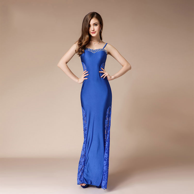 Sexy Mermaid Dress Formal Dress Women Elegant Long Evening Dress 2019 Blue Beaded Lace Prom Party Dresses Engagement Gala in Evening Dresses from Weddings Events