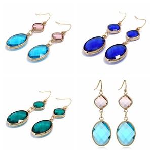 Boucles d'oreilles en cristal de goutte d'eau bleu ciel, bleu Royal et vert à la mode pour cadeau de bijoux de boucles d'oreilles de fête de mariage de couleur Vintage
