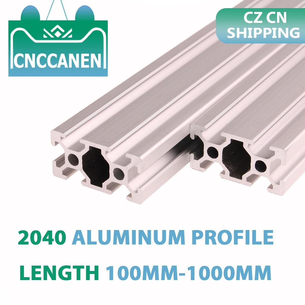CZ CN Shipping 2PCS 2040 Aluminum Extrusion Profile 100mm-1000mm Length European Standard Anodized For CNC 3D Printer Parts DIY