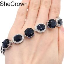 13x13mm  Deluxe Tanzanite White Cubic Zirconia Woman's Party Silver  Bracelet 7.0-7.5in