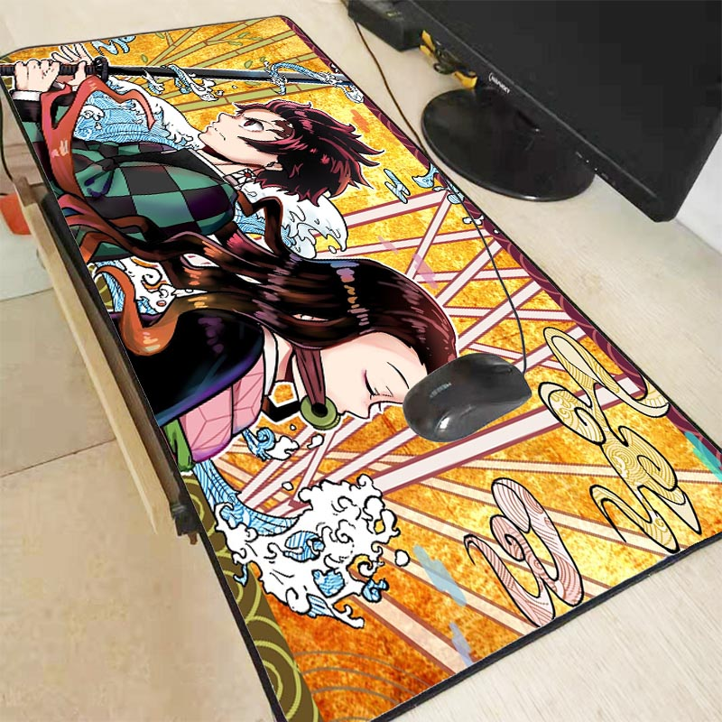 XGZ Kimetsu No Yaiba Locking Edge Large MousePad Gamer Gaming Playmat Japan Korea Anime Fashion Keyboard Mat Customized Made XXL