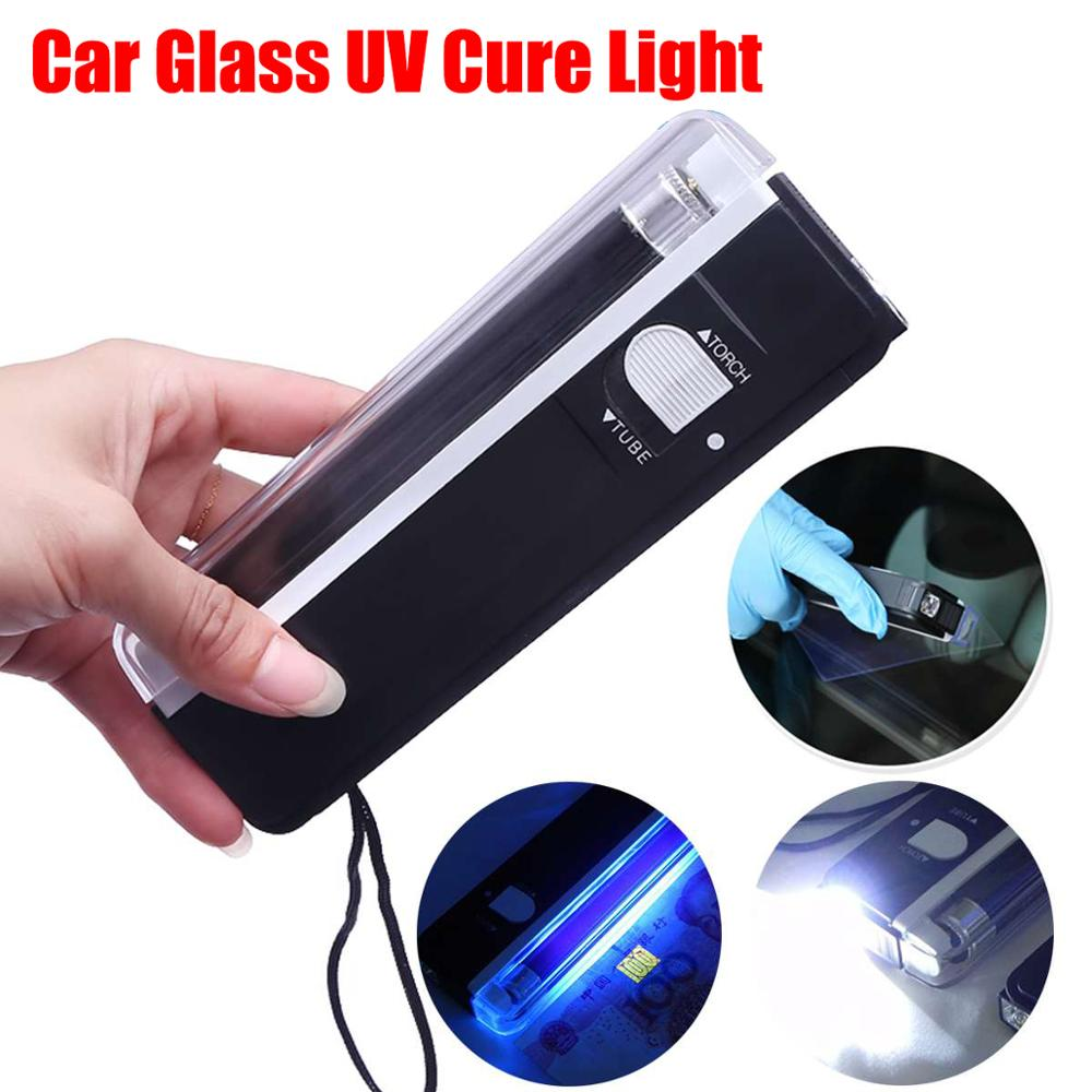 Uv Led Lamp Auto Glass Cure Light Car Window Resin Cured Or Nail Ultraviolet UV-Lamp Lighting Windshield Repair Tools Use 4 AA