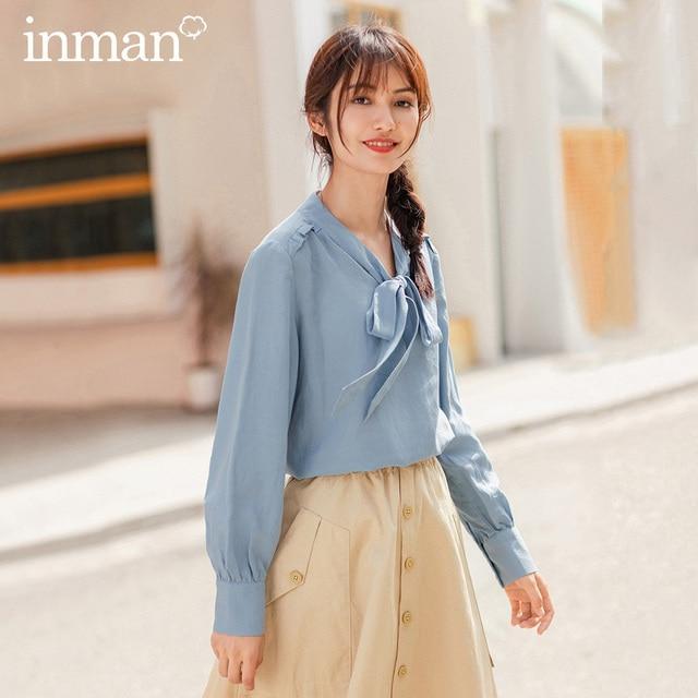 Inman 2020 primavera nova chegada literária cor pura laço bowknot lazer manga longa blusa