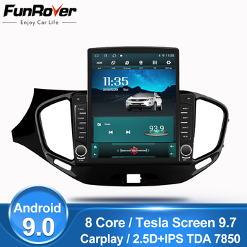 """Funrover 9.7"""" Tesla screen Android 9.0 car multimedia Player radio gps Stereo For LADA Vesta 2015-2019 2din 2.5D+IPS DSP no dvd"""
