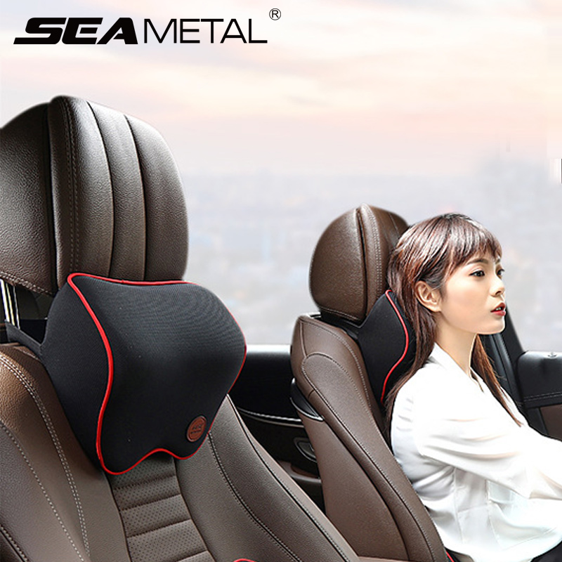 Car Seat Headrest Car Neck Pillows Filled Fiber Cushion Pad Memory Foam Head Rest Auto For Travel Support Car Seat Accessories-in Neck Pillow from Automobiles & Motorcycles