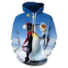 Fashion 3D printing penguin hoodie winter children clothes cool cartoon sweatshirt boys girls Christmas pullovers Kids casual