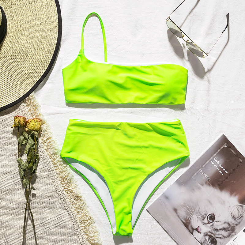 In-X High waist bikinis 2019 mujer Neon swimsuit female one shoulder swimwear women Bandeau top Sexy green bathing suit bathers