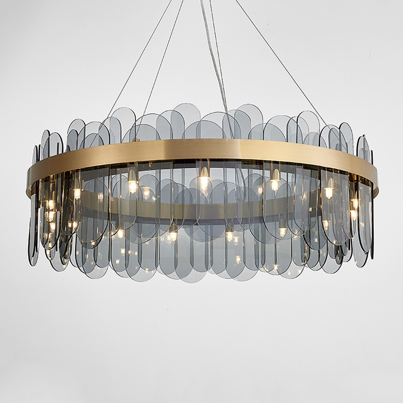 Luxury LED Glass Pendant Light Glod Metal White/ Smoky Gray Glass Pendant Lamp For Livingroom Bedroom Restaurant