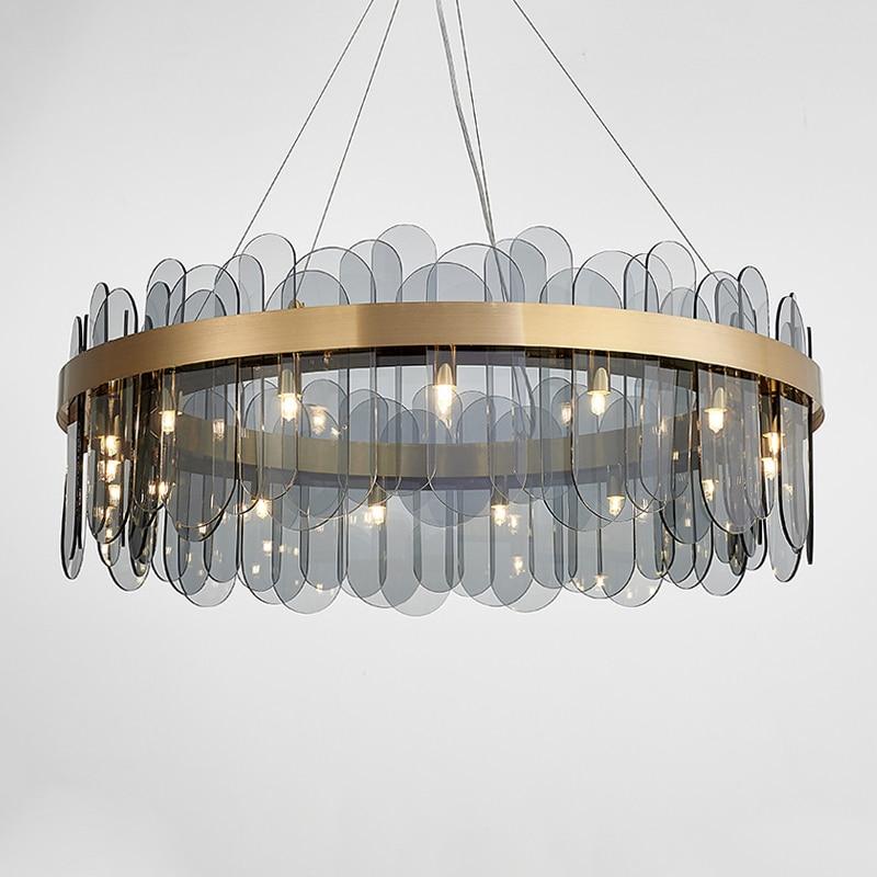 Luxury LED Glass Pendant Light Glod Metal White/ Smoky Gray Glass Pendant Lamp For Livingroom Bedroom Restaurant