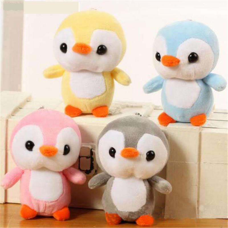 1PCS 12CM Animals Penguin Toys Small Pendant Dolls Cartoon Soft  Stuffed Mini Plush Penguins Toy For Kids Girls Gifts 4 Color