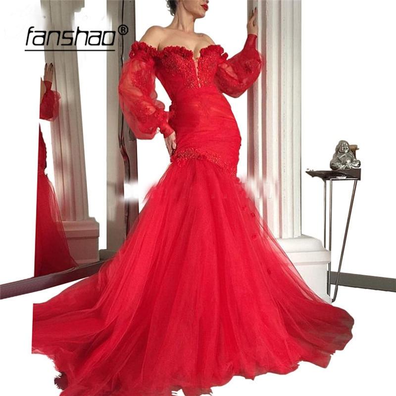 Red Muslim Evening Dress V-Neck Off The Shoulder Mermaid Long Sleeve Applique Islamic Dubai Saudi Arabic Evening Gown Prom Dress