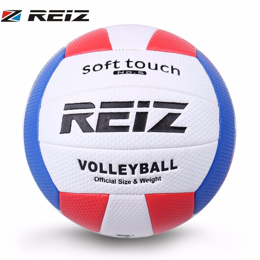 REIZ Soft Touch Volleyball Ball Training Competition Ball PU Leather Standard Size 5 Outdoor Indoor Volleyball Ball For Students