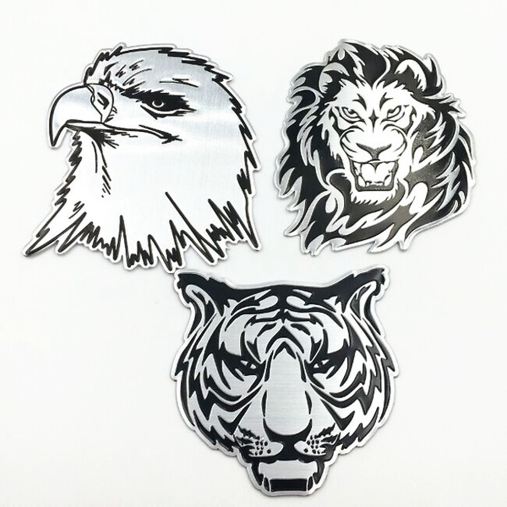 Car Decoration Metal Stickers Waterproof 3D Lion Eagle Tiger Shape Design Emblem Badge Decal Truck Auto Styling Car Accessories