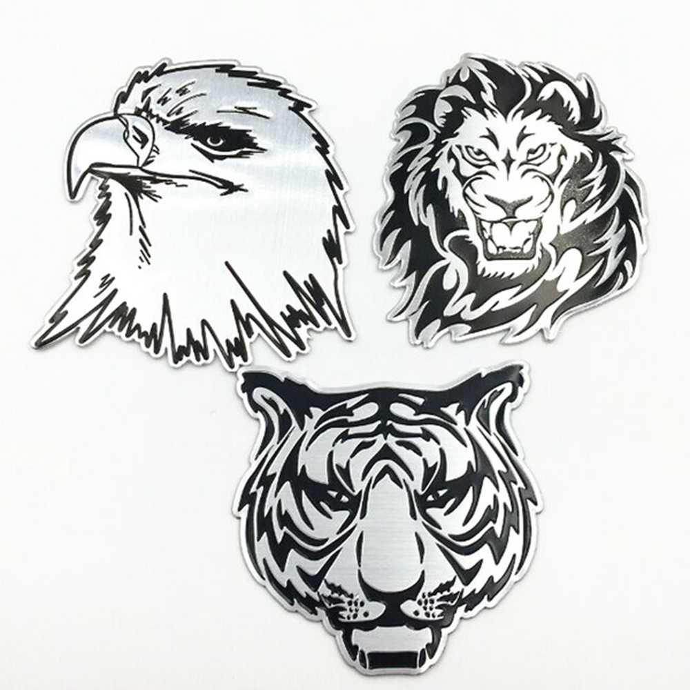 Mobil Dekorasi Stiker Logam Tahan Air 3D Singa Eagle Tiger Desain Bentuk Emblem Lencana Decal Truk Auto Styling Aksesoris Mobil