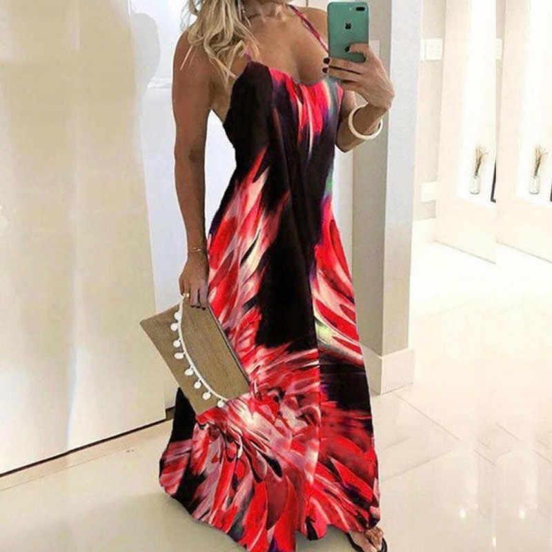 בציר עלה הדפסת שמלה סקסית ספגטי רצועת V צוואר ארוך שמלת נשים קיץ גדול נדנדה חוף שמלות המפלגה טוניקת בתוספת גודל 6XL