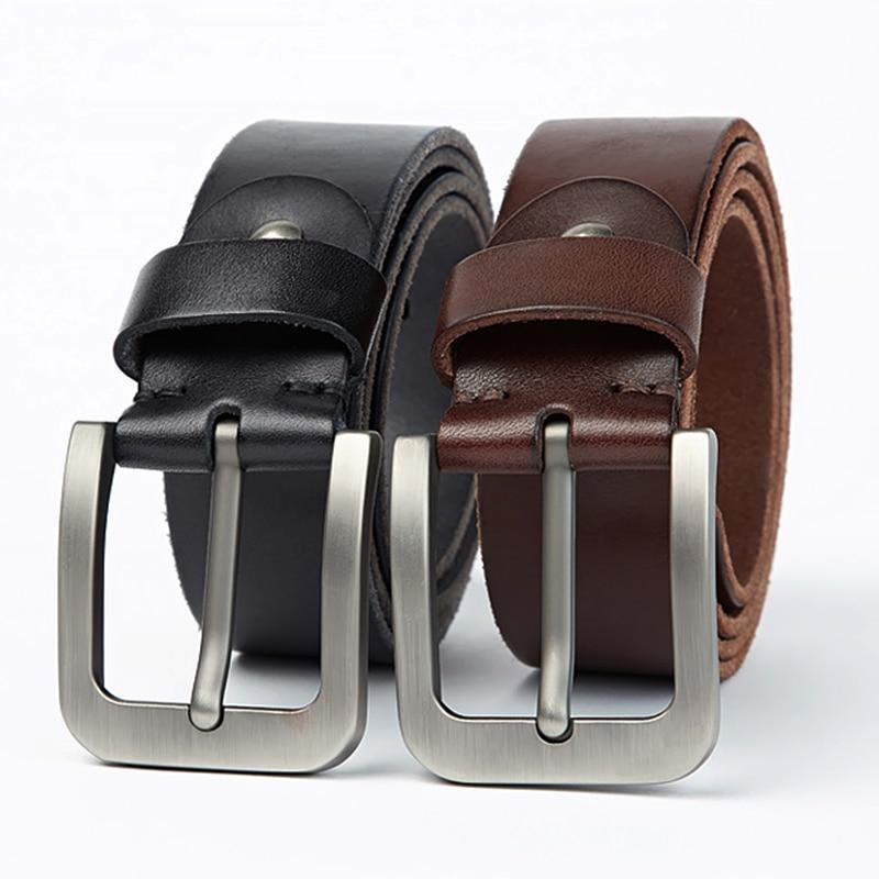 Image 5 - MEDYLA Brand Italian Leather Belt Men Hard Brushed Steel Buckle Soft Original Leather Mens Genuine Leather Belt AccessoriesMens Belts   -