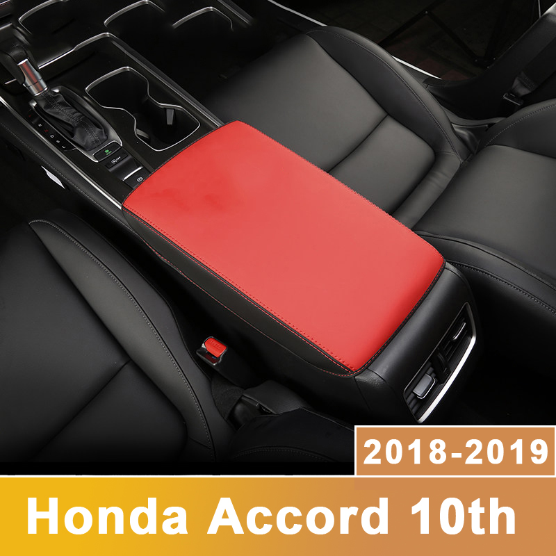 Leather Car Armrest Pad Covers Console Auto Seat Arm Rest Pad Protection Cushion Mat For <font><b>Honda</b></font> <font><b>Accord</b></font> 10th <font><b>2018</b></font> 2019 <font><b>Accessories</b></font> image