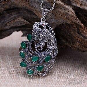 Image 3 - Gerçek saf 925 ayar gümüş tavuskuşu doğal taş kolye kadınlar için kakma yeşil kalsedon markazit
