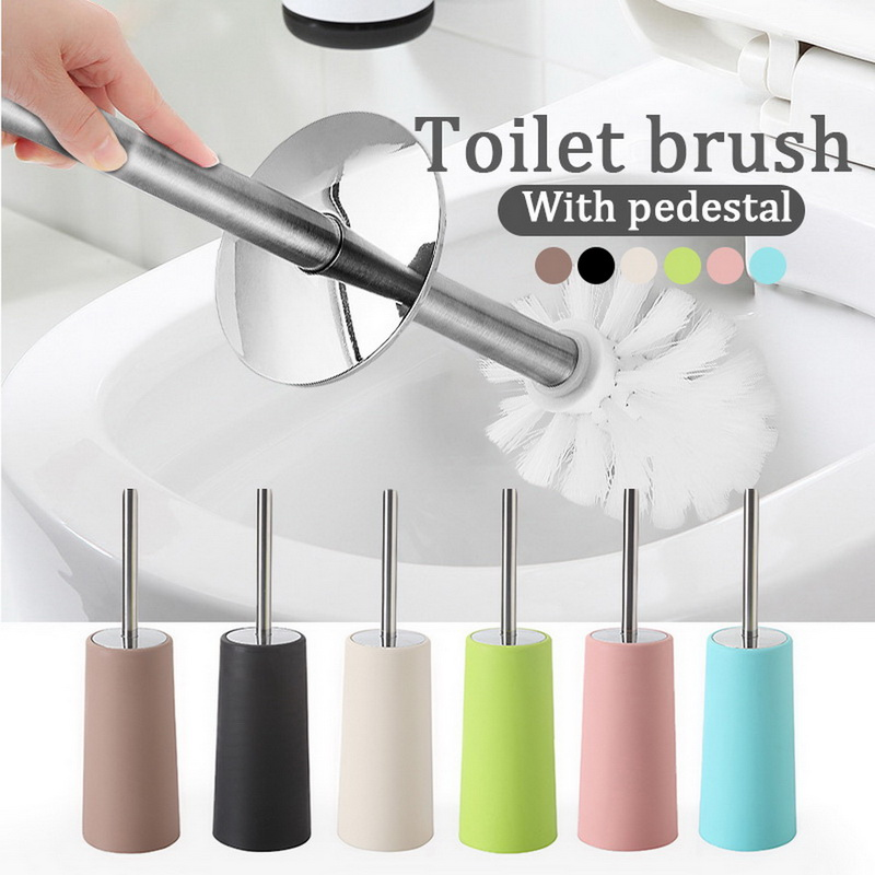 Portable Plastic Bathroom Toilet Brush Durable Toilet Brush Holders Accessories Sets With Stainless Steel Long Handle