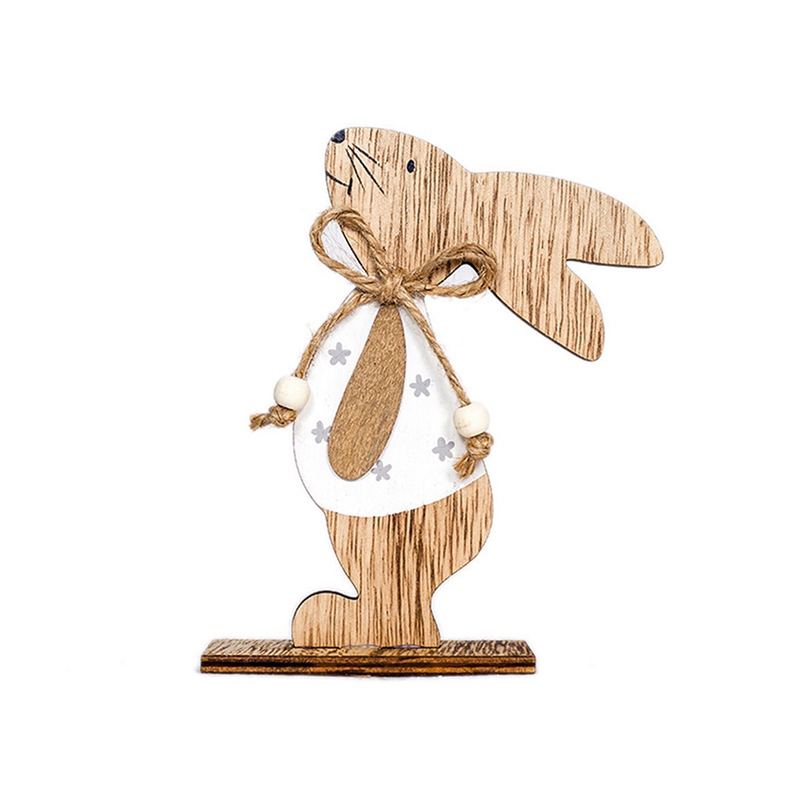 QIFU Easter Rabbit Wooden Pendant Wood Egg Bunny Hanging Crafts Happy Easter Decoration For Home DIY Easter Party Decor