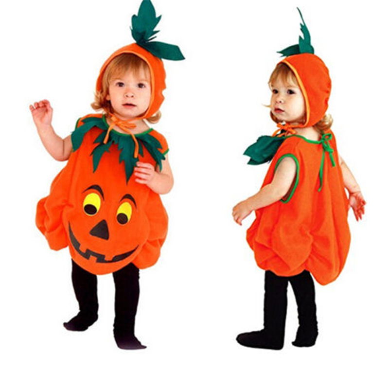 Halloween Toddler Baby Unisex Pumpkin Cute Cosplay Costumes Party Festival 2Pcs Romper+Hat Nursery Costumes For The Stage
