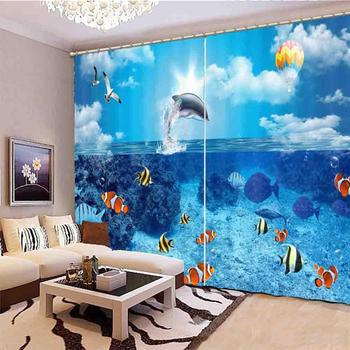 Customize HD Windows Curtains Underwater World Curtains For Bedroom Living Room Home Goods Curtains занавески для кухни