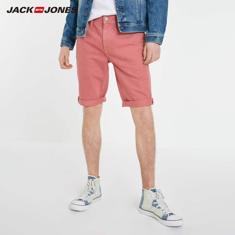 JackJones Men's 100% Cotton Pink Style Distressed Denim Shorts| 219143505