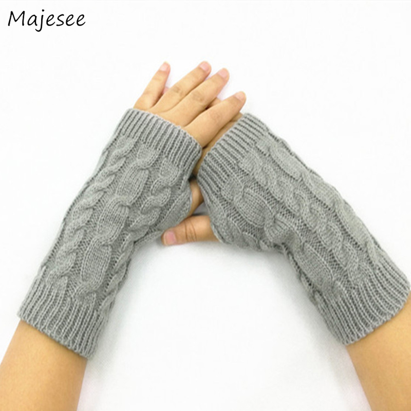 Short Arm Cuffs Warmers Women Mitt Winter Warm Knitted Thick Solid Elegant High Quality Womens Simple Student Girls Korean Style