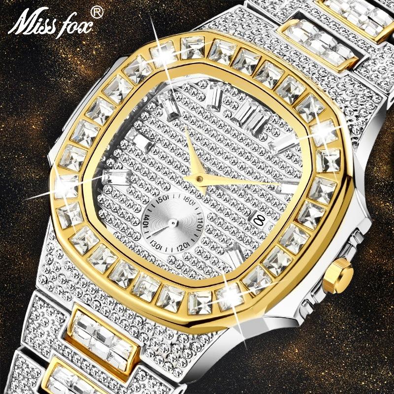 Hot MISSFOX Watches Men Wrist Luxury Brand Analog Chronograph Two Tone Gold Diamond Male Wrist Watch Auto Date Quartz Wristwatch