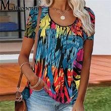 2021 Summer Tie Dye T-Shirt Women Short Sleeve O Neck Tops Ladies Vintage Print Casual Loose Streetwear Pullover Female Top Tee