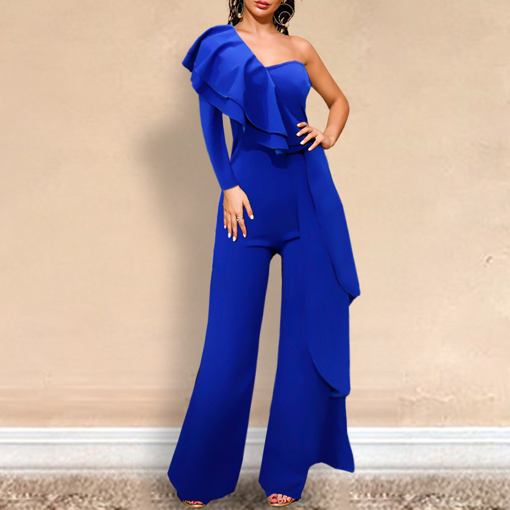 One Shoulder Sexy Jumpsuit Ruffle Party Women Occasion Elastic Spring Summer Blue Overall Slim Bodysuit Female 2020 Plus Size XL