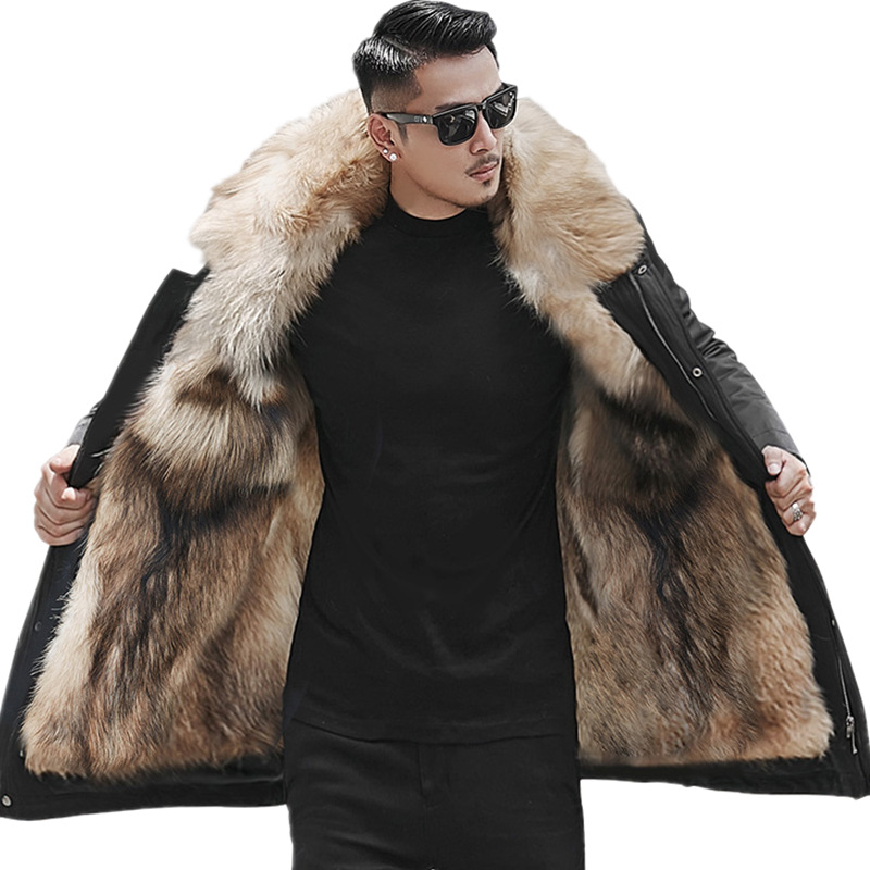H1f6f83bbae0041c1b863550fa0d0913aL Batmo winter wolf fur liner hooded jacket men, winter warm parkas men plus-size L-5XL