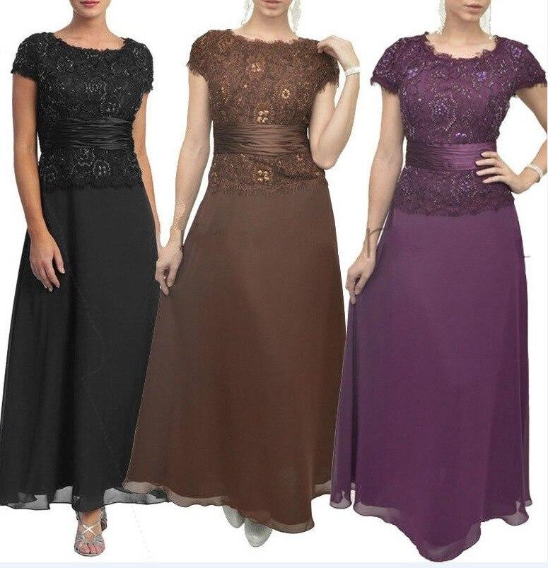 BacklakeGirls 2019 Vintage Purple Coffee Long Chiffon Evening Dress Ankle-Length Split Joint Mother Of Groom Dresses For Wedding