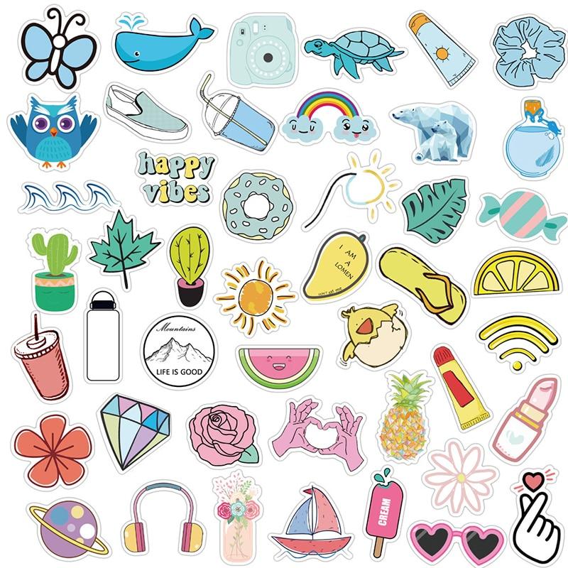 50PCS/Set Kawaii Cute Vsco Sticker Pack For Decal Girls Things On Guitar Suitcase Laptop Phone Fridge Car Waterproof Stickers