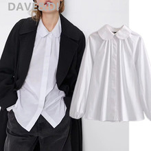 Dave&Di england simple solid white peter pan loose blouse wo