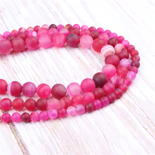 Rose Red Stripes Natural?Stone?Beads?For?Jewelry?Making?Diy?Bracelet?Necklace?6/8/10/12?mm?Wholesale?Strand