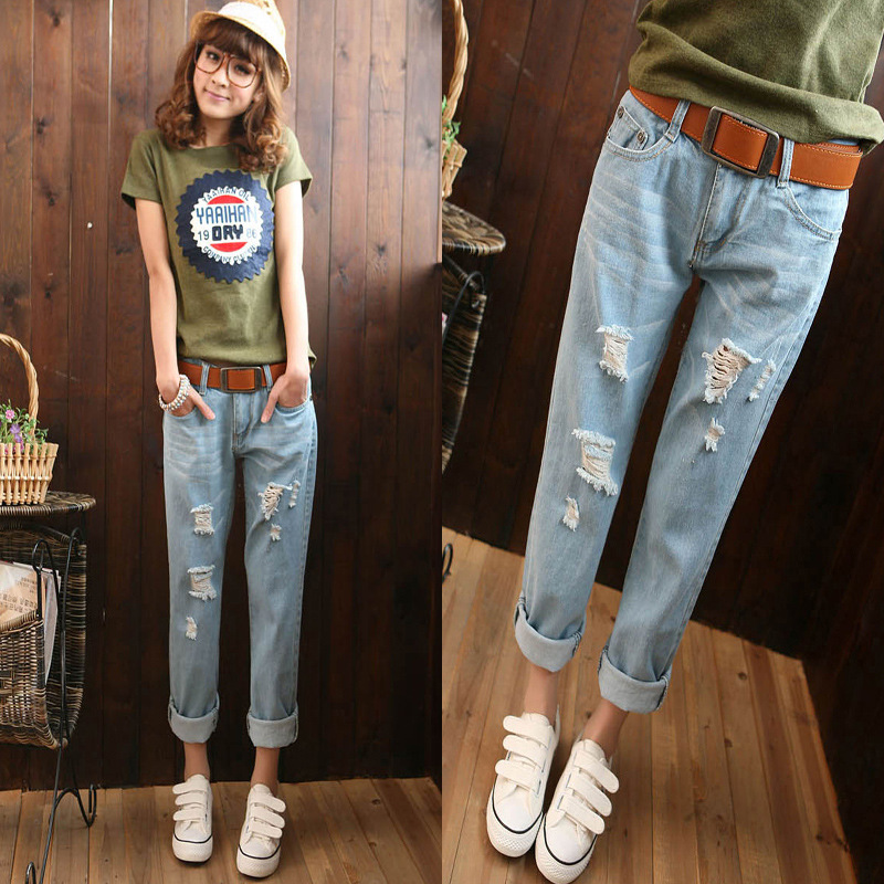 Summer New Style Korean-style WOMEN'S Wear Large Size Loose-Fit BF With Holes Jeans Women's Harem Capri Pants