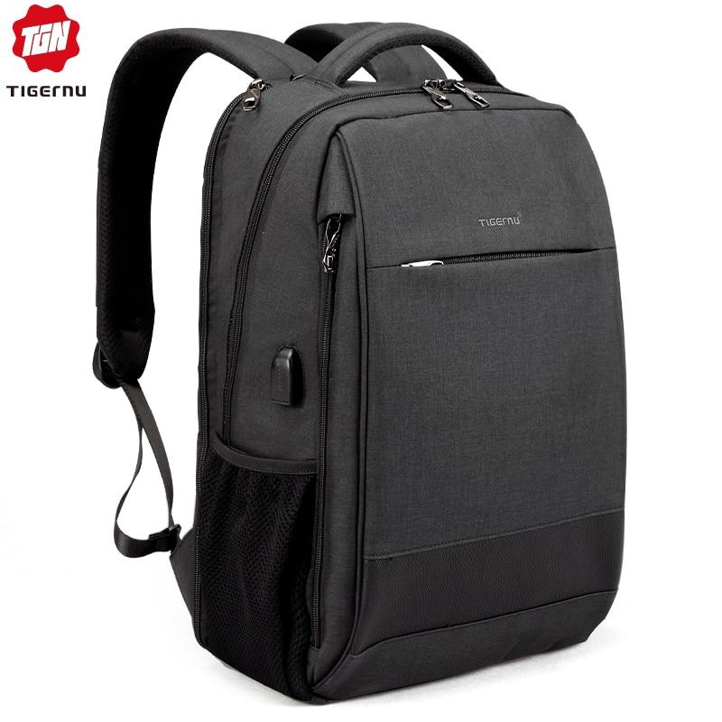 Tigernu Men's Fashion Travel Backpacks Male Anti Theft USB Charging 15.6 Laptop Bag Waterproof Silm School Bag For Female Male