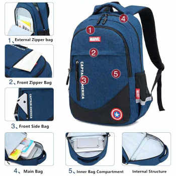 Marvel Disney school bag Captain America Spiderman ironman big capacity backpack primary middle school grade 3-9 for teenage boy