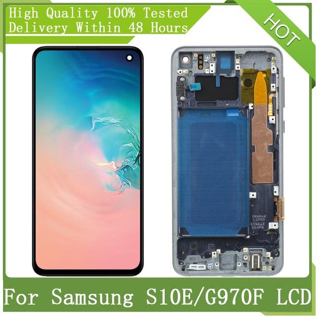 5.8 super super amoled tela lcd para samsung s10e g970f g970u g970w g970f/ds SM G9700 com quadro lcd display toque digitador assembléia