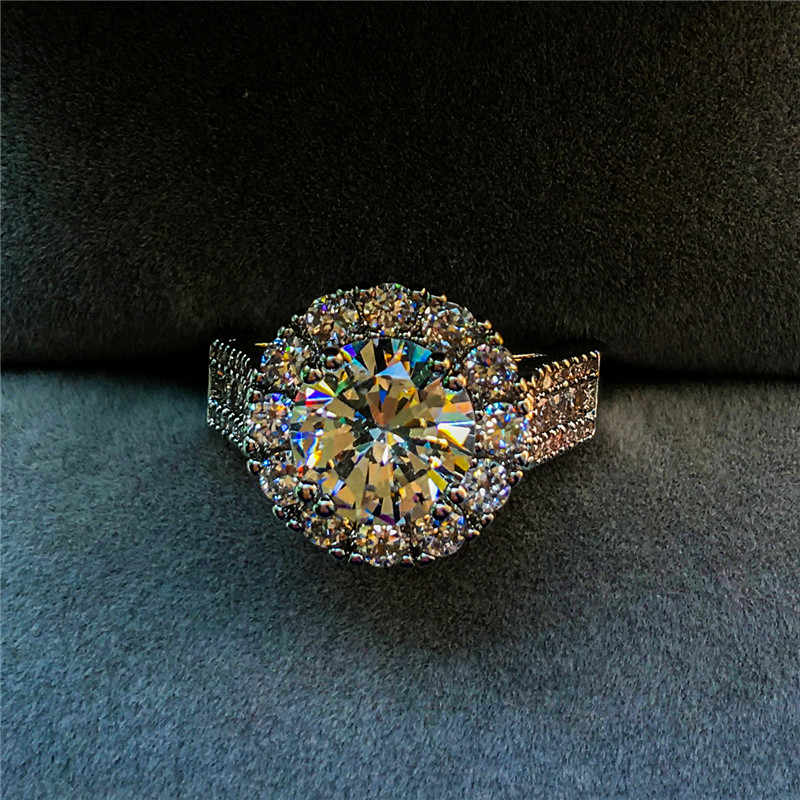 יוקרה נקבה גדול עגול קריסטל חתונה טבעת אופנה כסף מלא קטן זירקון אבן טבעת אירוסין הבטחת טבעות לנשים