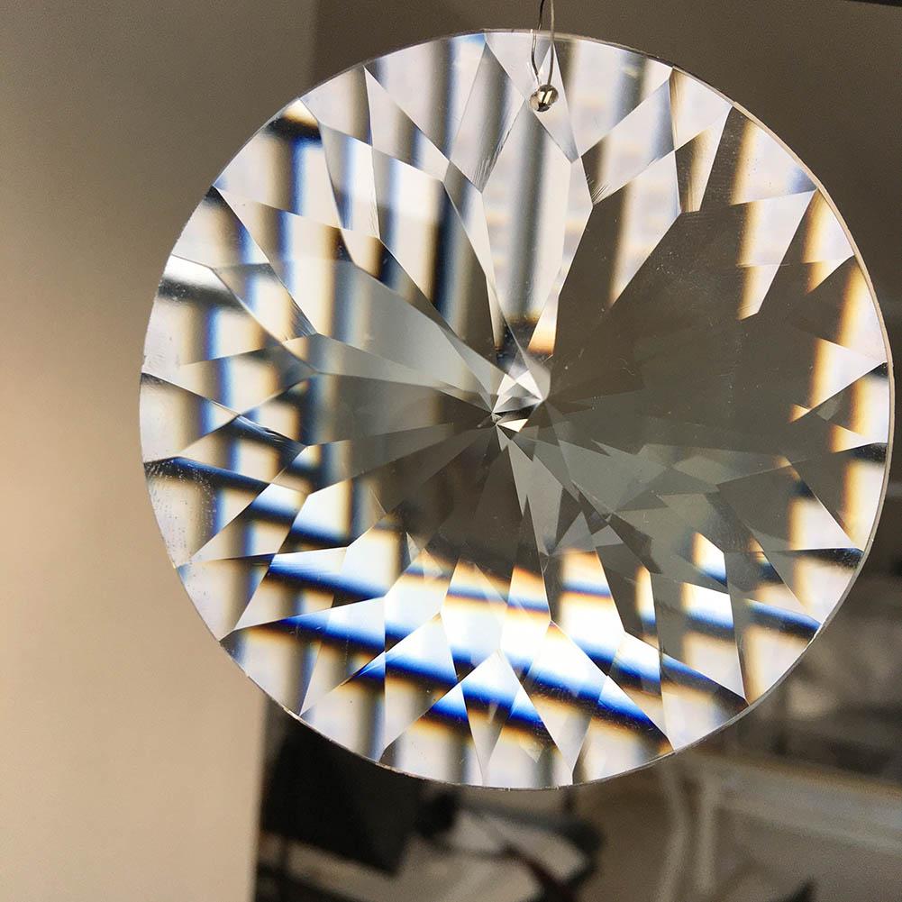 80mm CRYSTAL Prism Suncatcher Chandelier Pendant Glass Art DIY Hanging UFO Disc Arrow Head Cut Tree Ornament