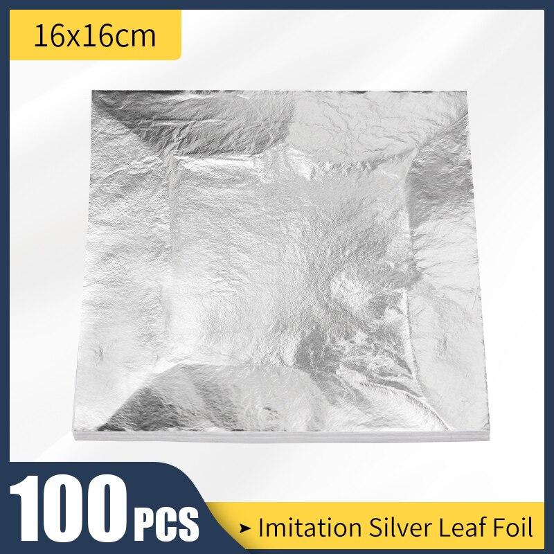 16x16 см, искусственный Серебряный лист, 100 листов, фотолист, алюминиевые листы, Декор