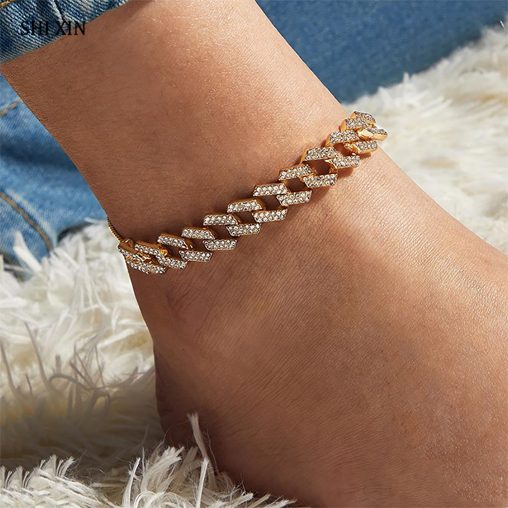 SHIXIN 4 Colors Luxury Shiny Rhinestone Anklet Bracelet For Women Chunky Cuban Link Chain Crystal Ankle Bracelet on the Leg/Foot