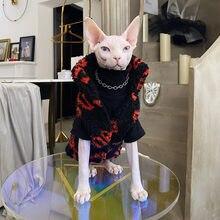 Manteau chaud en agneau pour chat, vêtements sans poils, Sphinx Devon, lettres rouges, automne et hiver