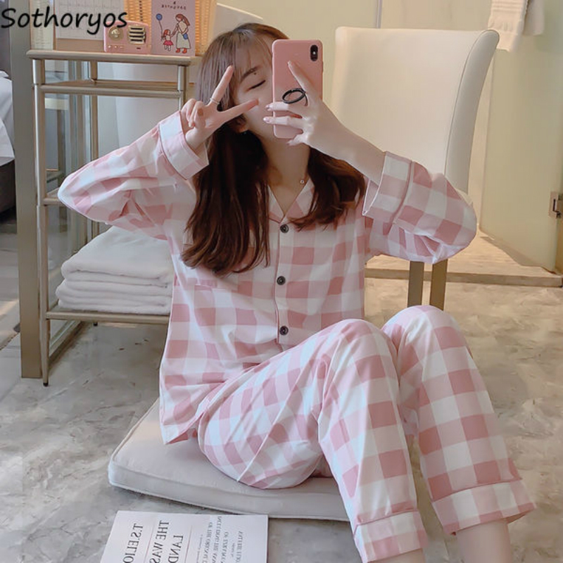 Pigiama Set Maglia A Manica Lunga Autunno 2XL Cardigan Stampato Elegante Sottile Alla Moda di Stile Coreano Homewear Tasche Delle Donne Pigiama Nuovo|Pigiami|   - AliExpress