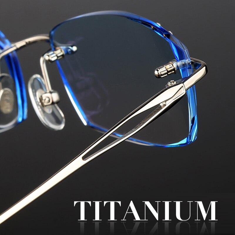 Titanium Frames Rimless Glasses Korean For Men Eyeglasses Luxury Male Complete Spectacle Prescription Computer Eye Glasses 651