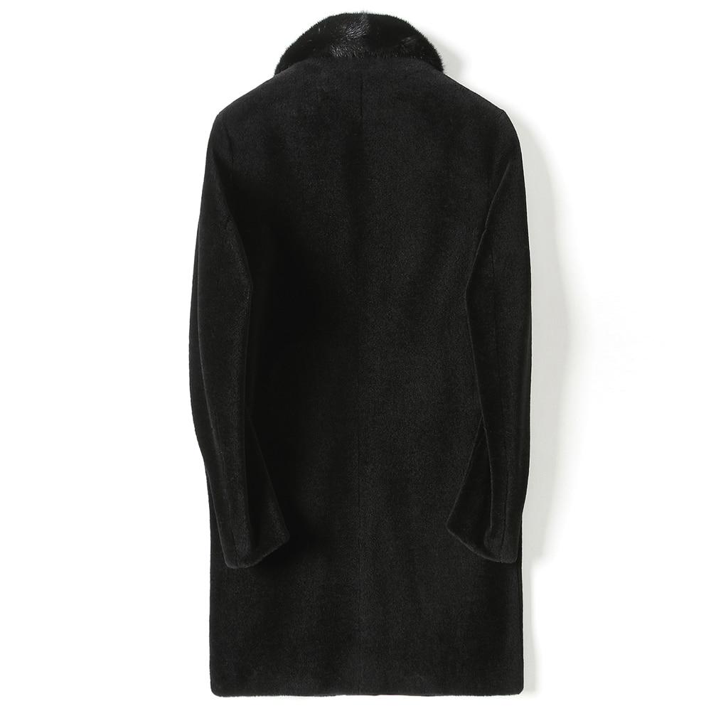 Winter Jacket Men Real Fur Coat Long Sheep Shearling Wool Coat Mink Fur Collar Plus Size Warm 2020 KFS18M201-1 KJ3811